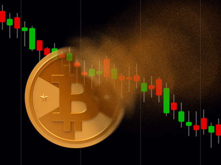 Golden cryptocurrency coin - bitcoin turns to dust, cryptocurrency falling concept, realistic 3d illustration Reklamní fotografie