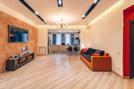 Modern interior design of big living-kitchen studio room Reklamní fotografie