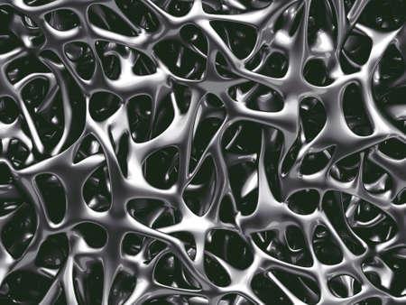 3d illustration of human bone spongy structure close-up made of metal, strong bones concept Reklamní fotografie
