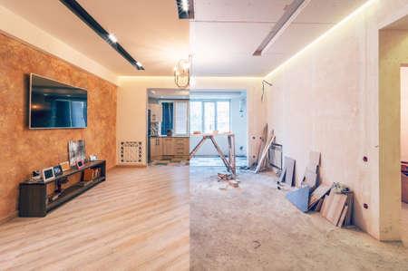 Interior design moderno del grande studio soggiorno-cucina, prima e dopo