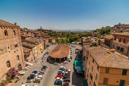 Siena, Italy - August 08, 2017: Small Italian town Siena from above