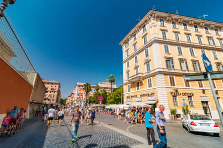 Rome, Italy - August 09, 2017: Via di Porta Angelica street in Rome near Vatican Redakční