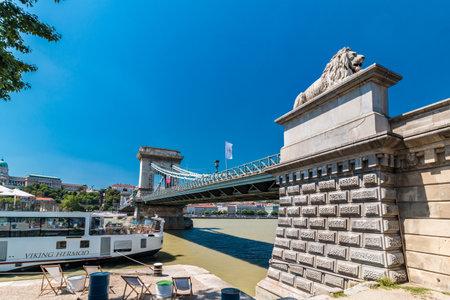 BUDAPEST, HUNGARY - AUGUST, 01, 2017: Chain Bridge over Danube river in Budapest Redakční