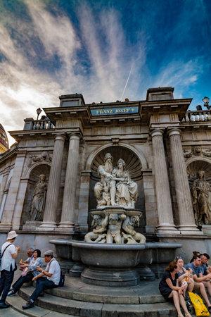 Vienna, Austria - August, 02 2017: Statue of Franz Josef I in Vienna with tourists