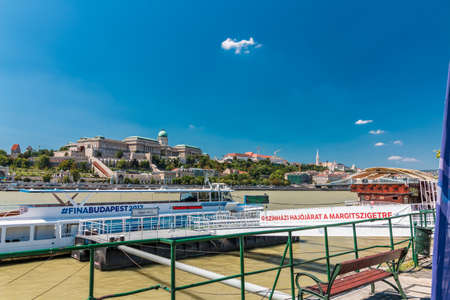 BUDAPEST, HUNGARY - AUGUST, 01, 2017: View of Danube river with King Castle on background in Budapest Redakční