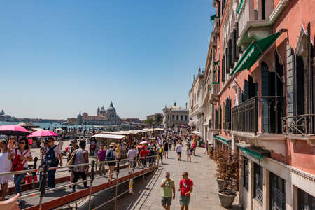 Venice, Italy - August, 04 2017: Venice street near San Marco square with lot of tourists