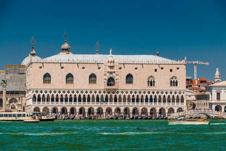 Venice, Italy - August, 04 2017: Doge palace view from Grand canal in Venice