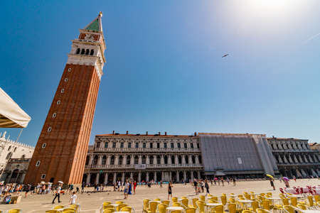 Venice, Italy - August, 04 2017: San Marco square (piazza) with lot of tourists in Venice