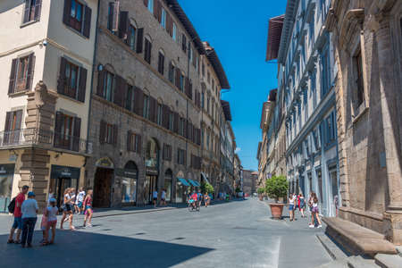 Florence, Italy - August 07, 2017: View of one of the main streets of Florence with lot of tourists