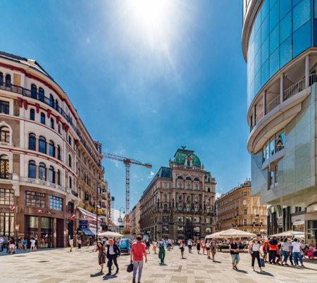 Vienna, Austria - August, 02 2017: Stephansplatz street in Vienna with lot of tourists