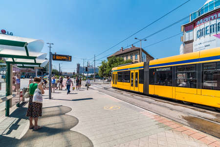 BUDAPEST, HUNGARY - AUGUST, 01, 2017: Daytime street view of on of the central Budapest streets