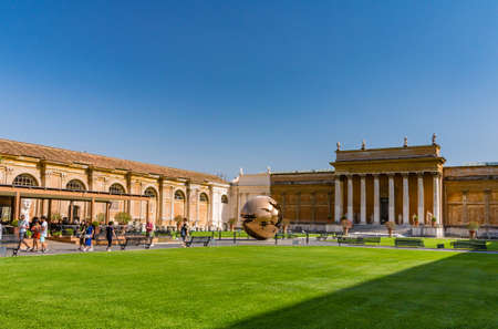 VATICAN, Rome, Italy - August 09, 2017: Sphere Within Sphere sculpture in Vatican courtyard