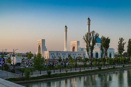 Tashkent, Uzbekistan - August, 11, 2019: Morning pray in Minor Tashkent Mosque with lot of muslims