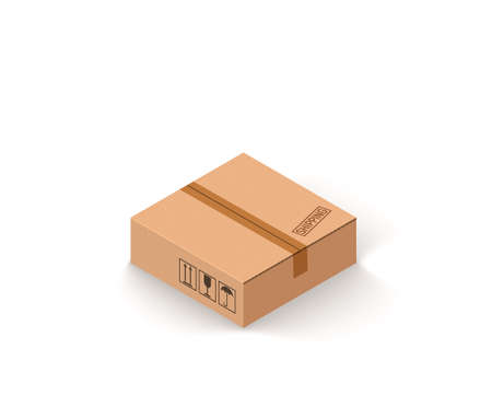 Closed parcel cardboard box isolated on white isometric vector illustration Ilustrace