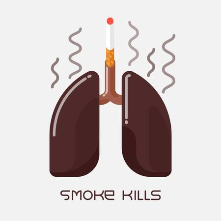Flat design illustration of unhealthy human lungs, smoking addiction concept
