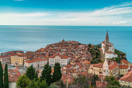 Beautiful old Slovenian town Piran on late fall, aerial view