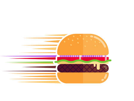 Big barbecue burger or cheeseburger moving fast forward, food delivery concept, flat design illustration Stock Illustratie