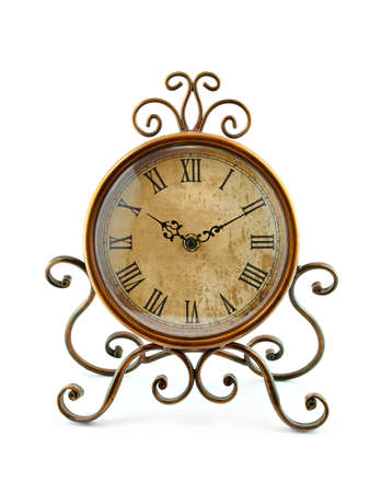 winder: Vintage clock on white background Stock Photo