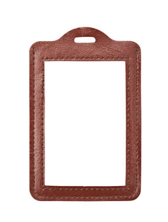Blank card in leather badge cover photo