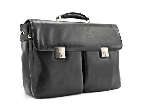 black briefcase: Lujo malet�n de negocios negro, cuero suave