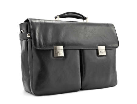 Luxury business black briefcase, soft leather photo