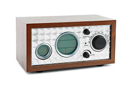 New classic radio on white background photo