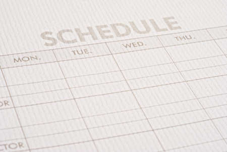 Close-up sheet schedule