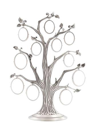 arbol geneal�gico: �rbol geneal�gico de plata con peque�os marcos ovalados