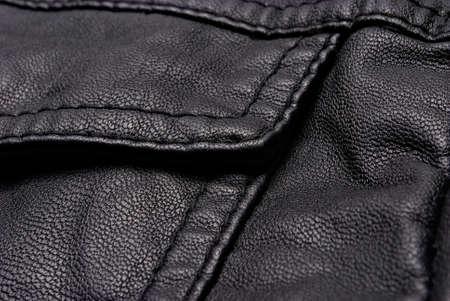 chaqueta de cuero: Primer plano de la chaqueta de cuero negro detalles