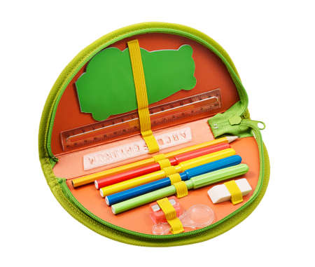 pencil case: Pencil case with various stationery Stock Photo