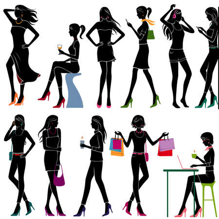 woman laptop: Girls Illustration