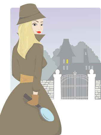 private eye: Young blond detective woman being on a trace of a serious crime