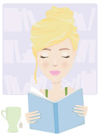 Young blonde woman spending her afternoon relaxing with a cup of tea and a favorite book