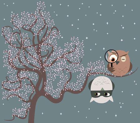 Illustratie van twee schattige uilen zittend op een boom spelen spel van kat en muis Een uil is een detective op zoek naar een verdachte die is opknoping op een tak op zijn kop Stock Illustratie