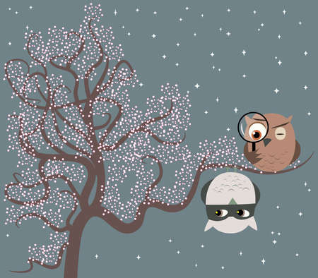 suspect: Illustration of two cute owls sitting on a tree playing game of cat and mouse  One owl is a detective searching for a suspect who is hanging on a branch upside down  Illustration