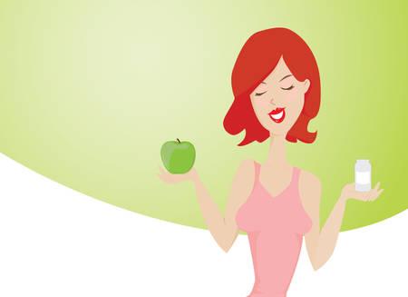 Jonge glimlachende rode haren vrouw bevorderen van een gezonde manier van leven Zij houdt een groene appel in de ene hand en een doos van geneesmiddelen in een andere