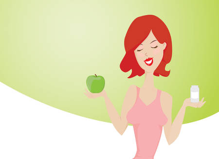 granny smith apple: Young smiling red hair woman promoting healthy way of life  She is holding a green apple in one hand and a box of medicines in another