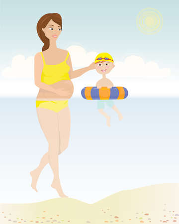 Spend time with your kids  Young brunette pregnant mom having a swim in the sea with her small son   Illustration