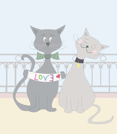 declaring: Love Cats Illustration of two cats lovers  A male cat is declaring love by holding a banner with a word love written in incorrect manner