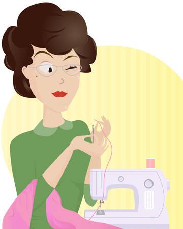 Ervaren vrouw maat draadsnijden een naald om een aantal nieuwe leuke kleren maken