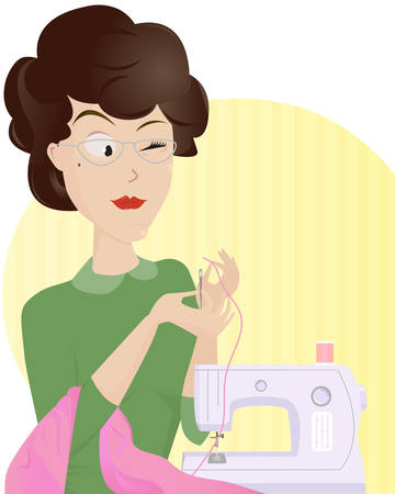 stitchery: Experienced woman tailor threading a needle in order to make some new nice clothes