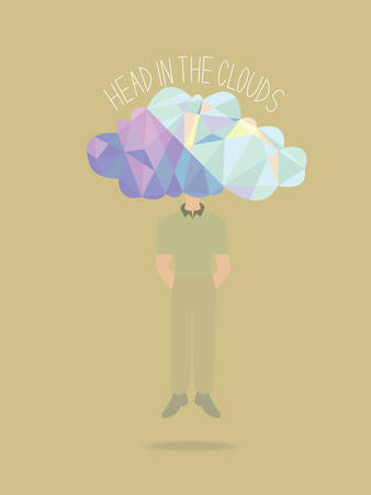 short trip: A man floating in the air with his head in the clouds