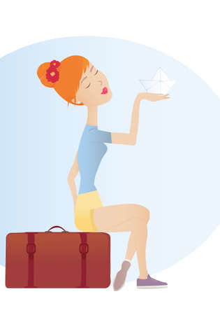 Dromen van reizen Illustratie van een jonge vrouw zit op een koffer en creatief schaven haar volgende reis Stock Illustratie