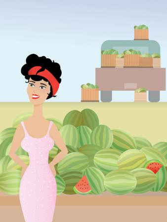 Vector illustratie van een aantrekkelijke vrouwelijke retro watermeloen vendor