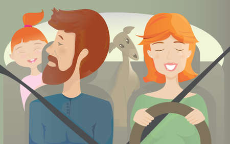 Take your lovely family for a road trip or a simple city car ride  Don t forget your pet as well   Vector