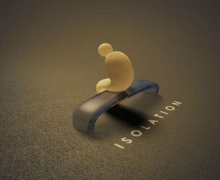 Isolatie 3D visualisatie van een geïsoleerde menselijke zittend op een bankje en achter hem wordt geschreven woord isolement. Stockfoto