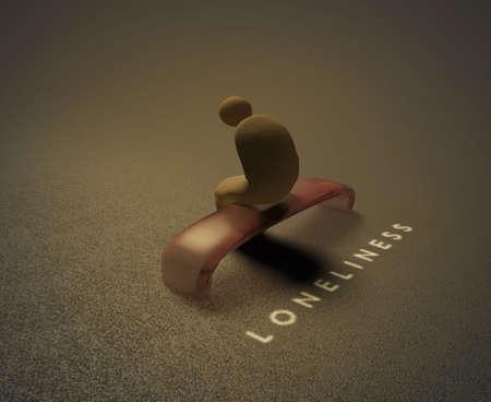 Isolatie 3D visualisatie van een eenzame mens zittend op een bankje en achter hem wordt geschreven woord eenzaamheid Stockfoto