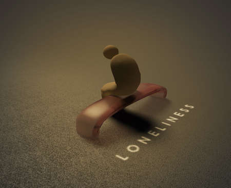 Isolation 3D visualization of a lonely human sitting on a bench and behind him is written word loneliness