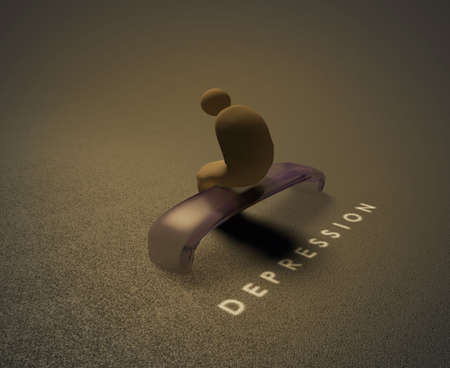 Depression  3D visualization of a depressedhuman sitting on a bench and behind him is written word depression