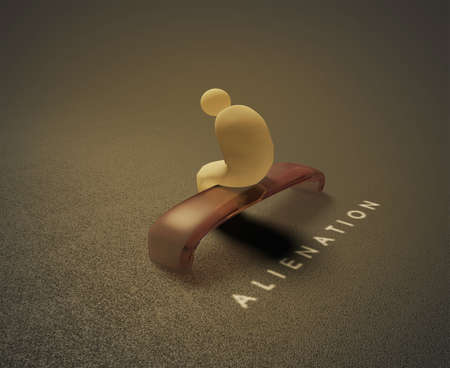 Alienation  3D visualization of a lonely human sitting on a bench and behind him is written word alienation